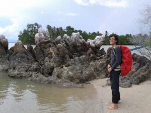 Karang di Pulau Nanas, di seberang karang ini terdengar auman macan
